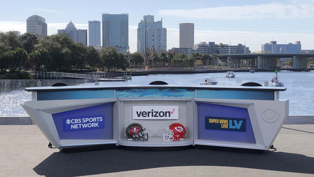 CBS Sports desk for Super Bowl LV in Tampa.