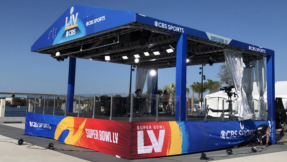 "CBS Sports outdoor studio set ""tent"" for Super Bowl LV."