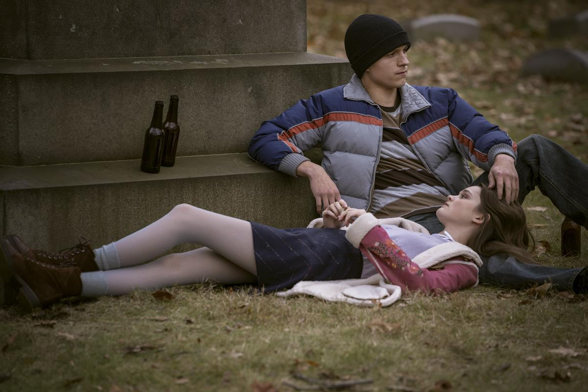 "Tom Holland and Ciara Bravo in ""Cherry."" Cr: Apple TV+"
