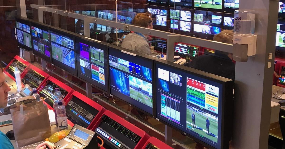 Sky Sports cricket OB truck production team with Plexiglass in place.