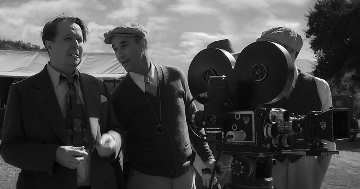 """Mank:"" Gary Oldman as Herman Mankiewicz and Jamie McShane as Shelly Metcalf, image courtesy of Netflix"