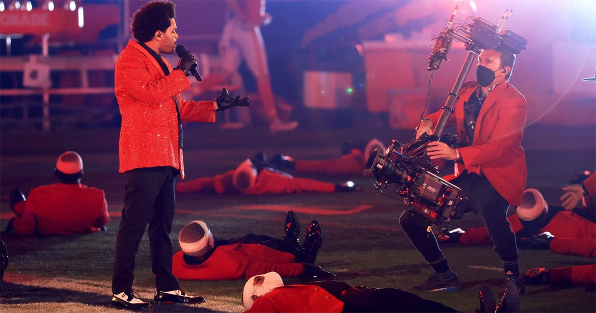 The Weeknd performing the halftime show at Super Bowl LV.