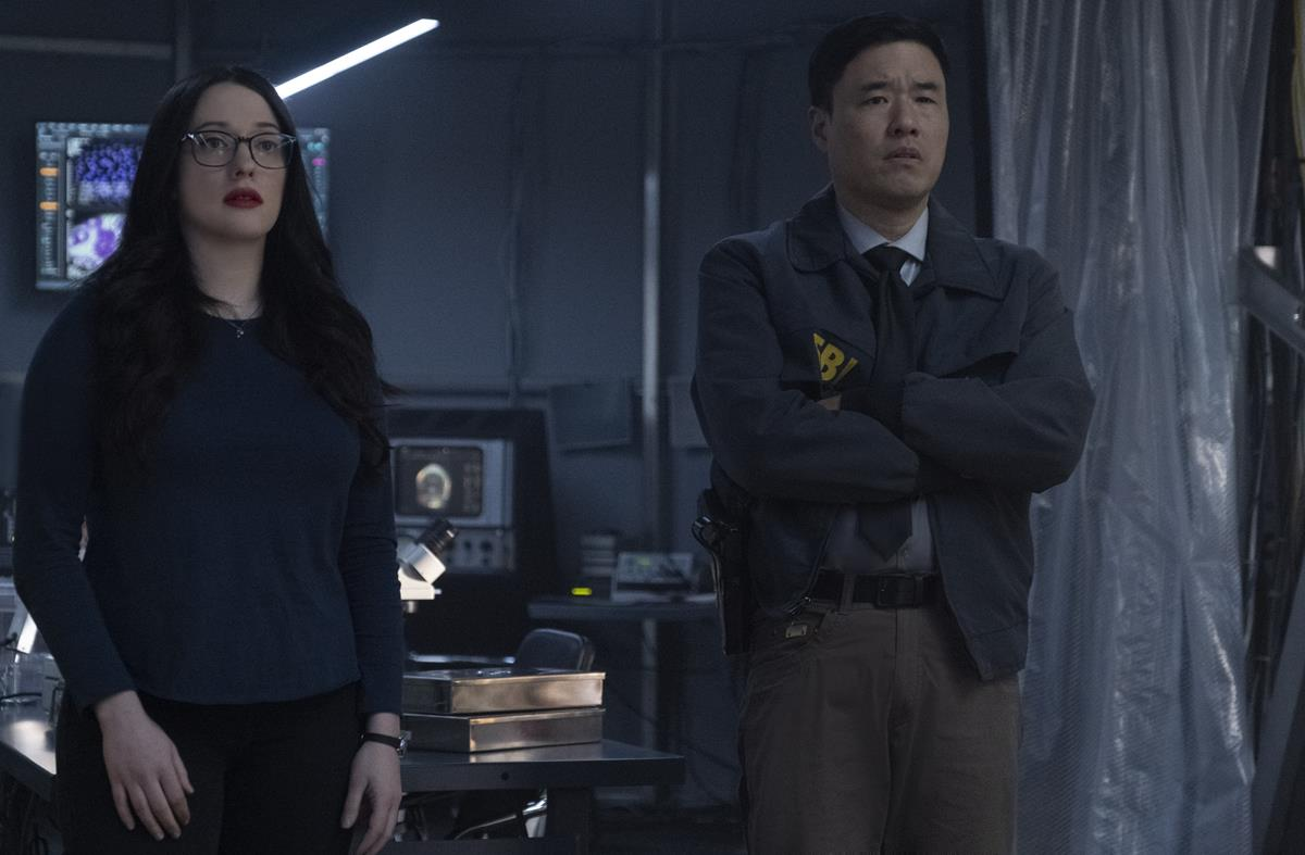 """(L-R): Kat Dennings as Darcy Lewis and Randall Park as Jimmy Woo in """"WandaVision."""" Cr: Marvel Studios"""