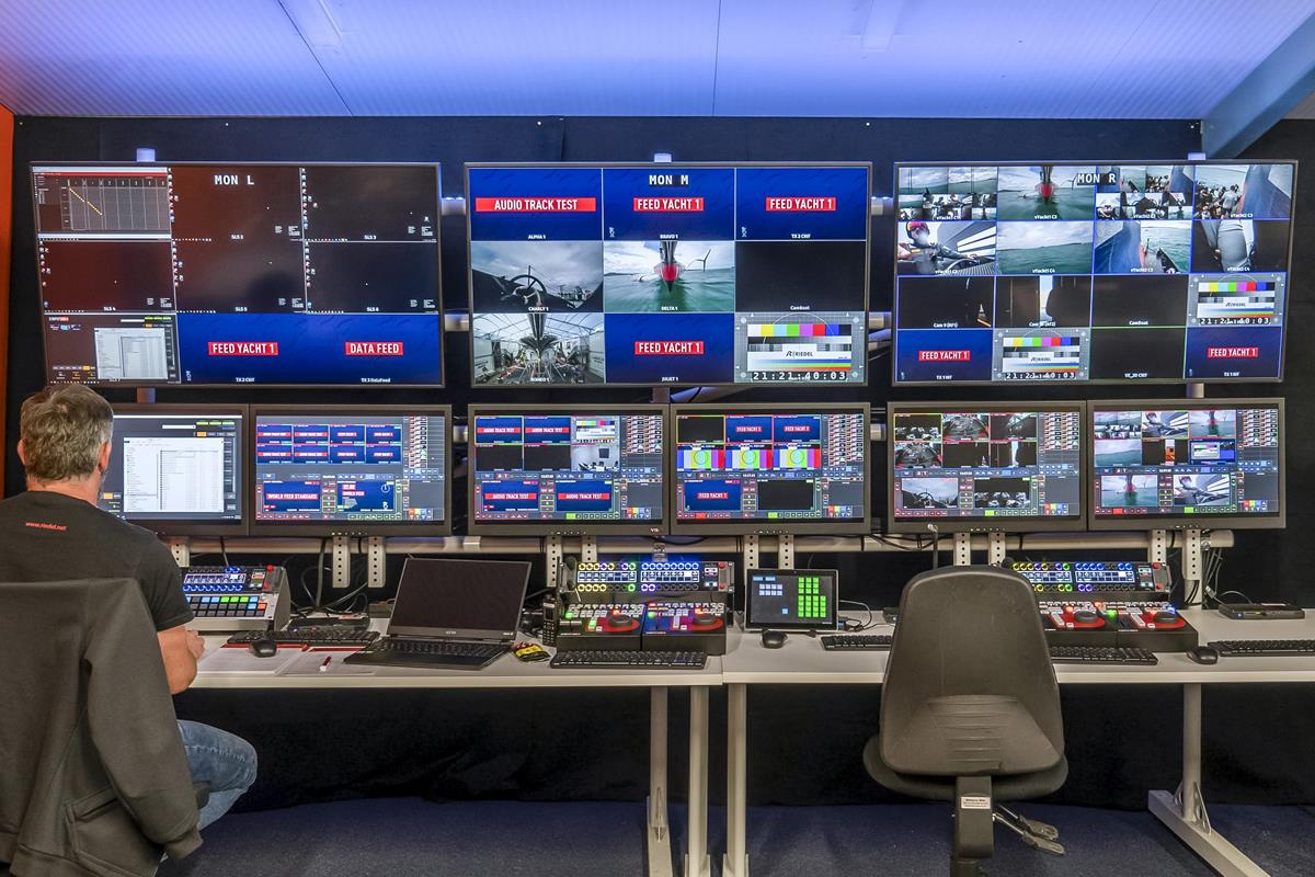 Inside the production at the America's Cup International Broadcast Center.