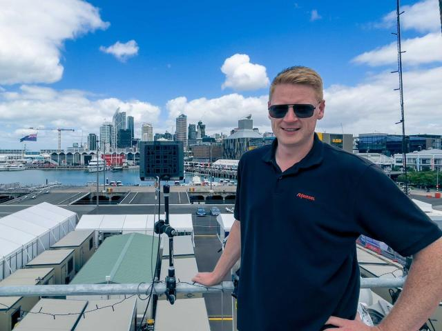 Riedel's Technical Director Tim Puschkeit at the IBC in Auckland harbor.