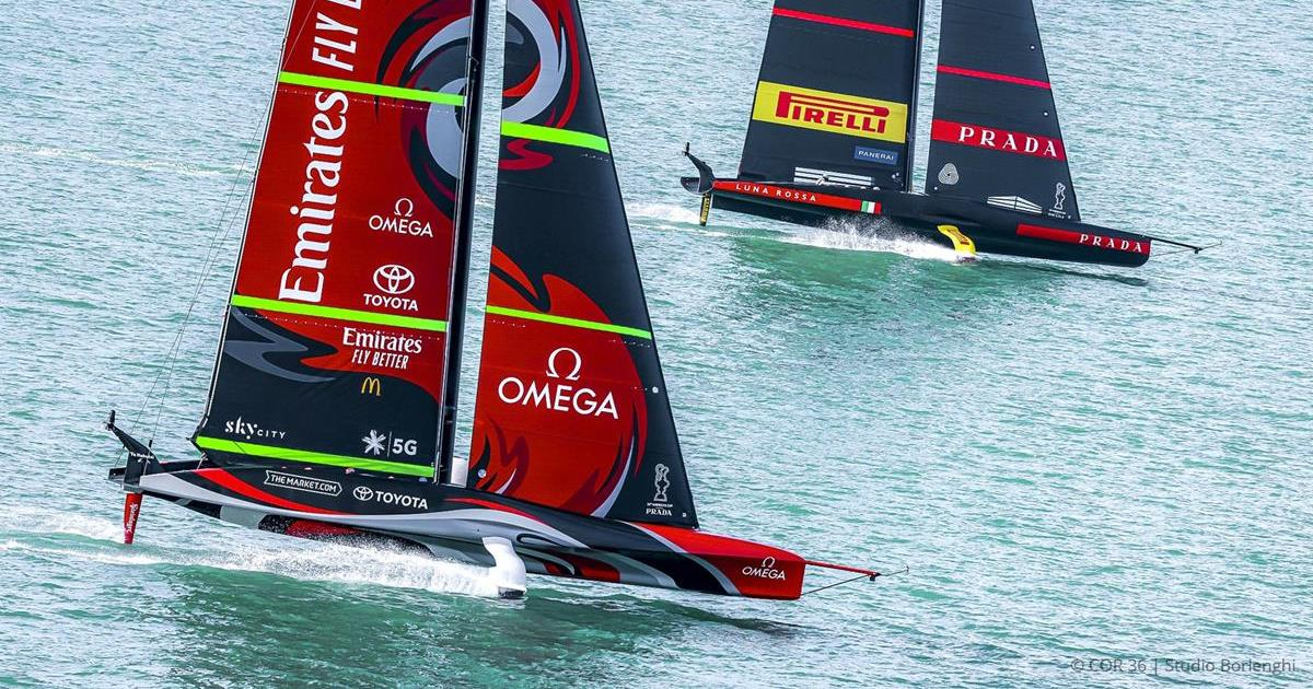 New Zealand's Te Rehutai and Italy's Luna Rossa are meeting in the America's Cup final in Hauraki Gulf near Auckland.