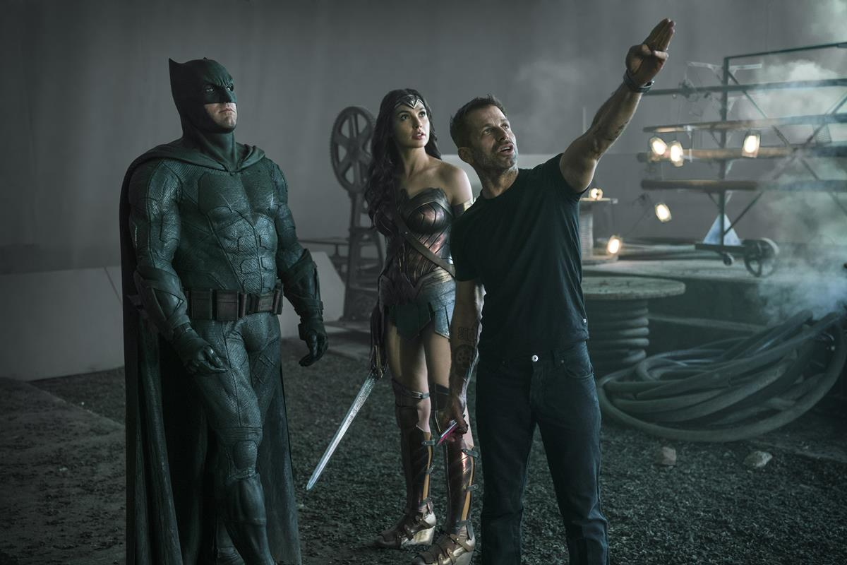 Ben Affleck as Batman/Bruce Wayne, Gal Gadot as Diana Prince/Wonder Woman, and director Zack Snyder on the set of ZACK SNYDER'S JUSTICE LEAGUE. Cr: HBO Max
