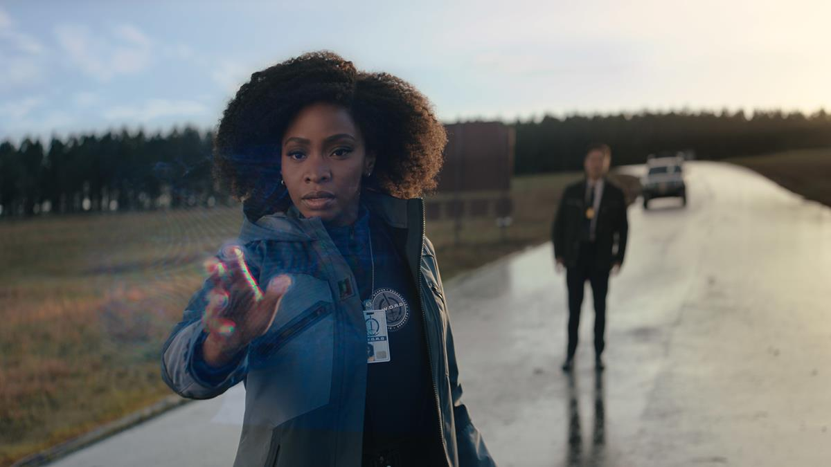 "(L-R): Teyonah Parris as Monica Rambeau and Randall Park as Jimmy Woo in ""WandaVision."" Cr: Marvel Studios"