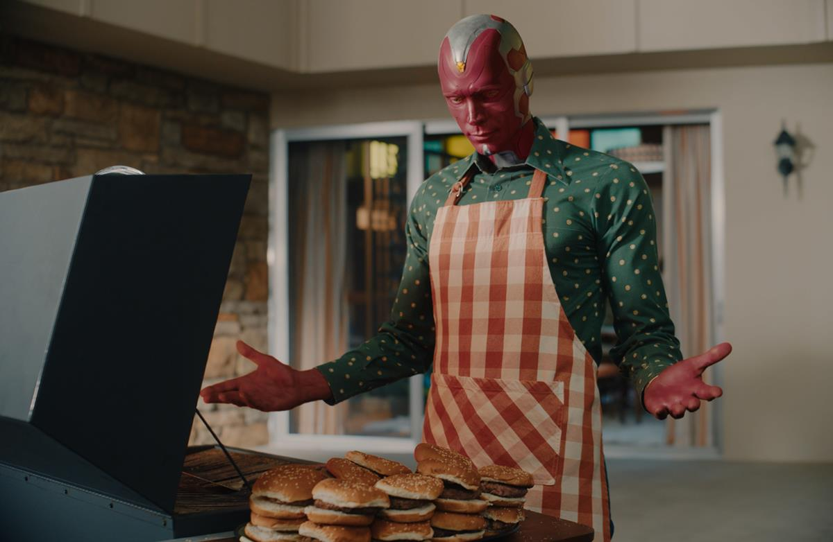 """Paul Bettany as Vision in """"WandaVision."""" Cr: Marvel Studios"""