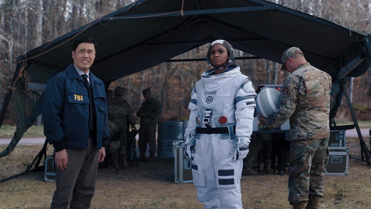 "(L-R): Randall Park as Jimmy Woo and Teyonah Parris as Monica Rambeau in ""WandaVision."" Cr: Marvel Studios"