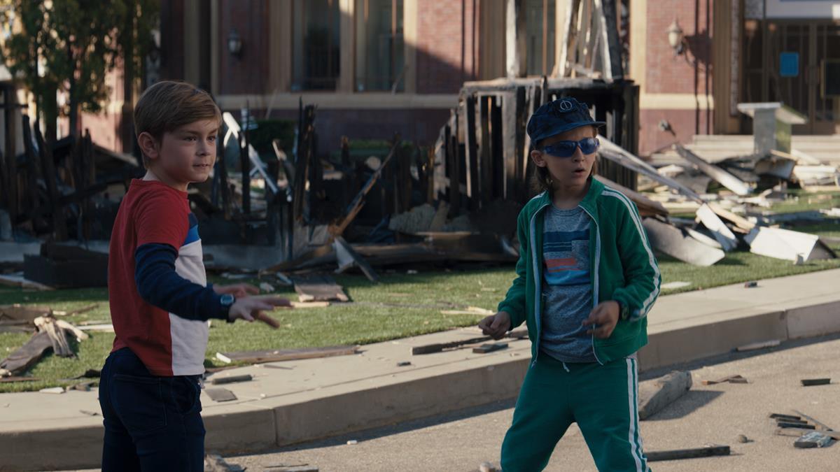 "(L-R): Julian Hilliard as Billy and Jett Klyne as Tommy in ""WandaVision."" Cr: Marvel Studios"