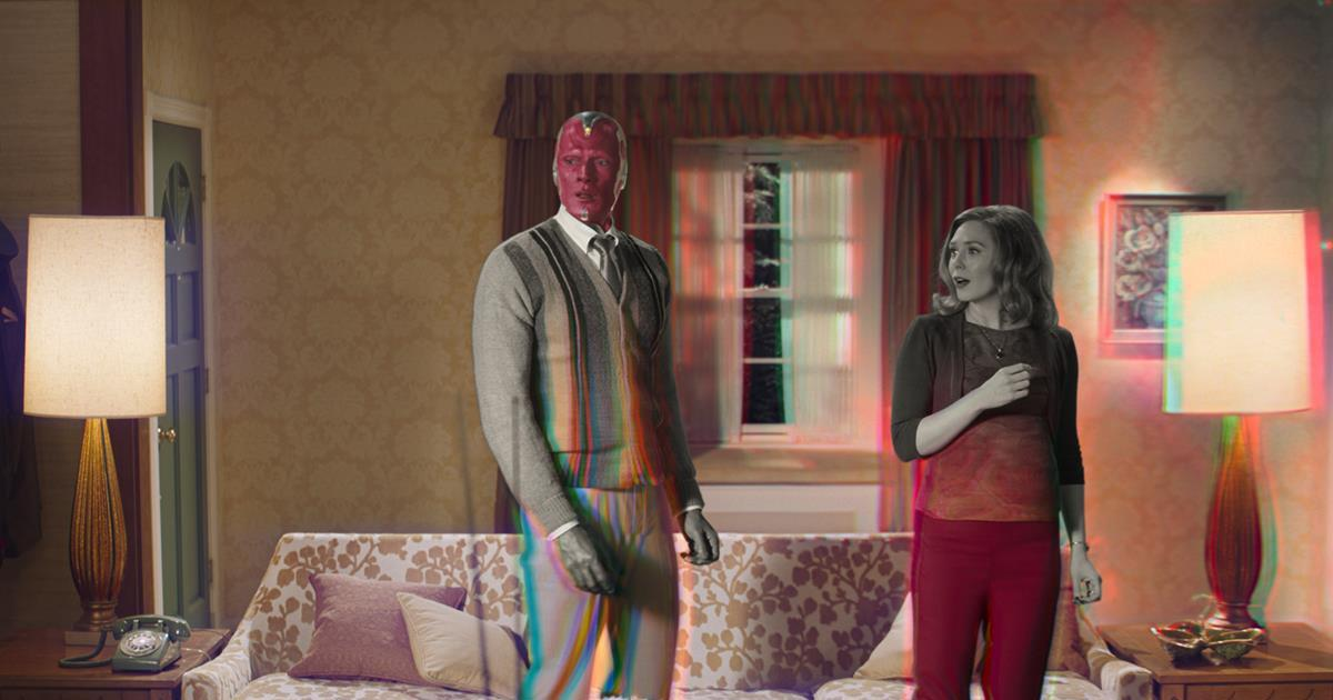 "Paul Bettany is Vision and Elizabeth Olsen is Wanda Maximoff in ""WandaVision."" Cr: Marvel Studios"