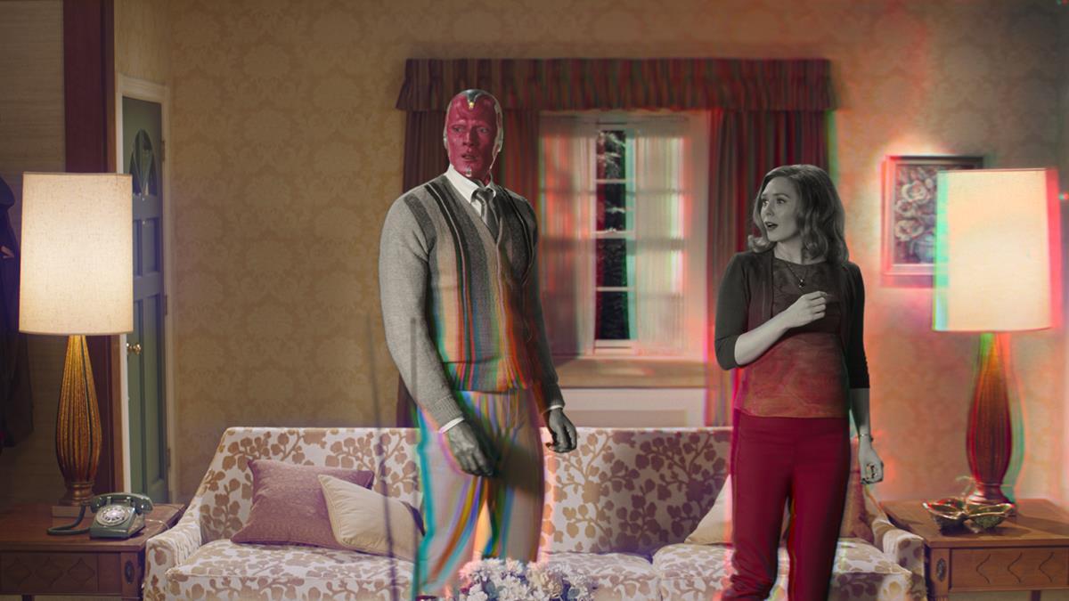 "Paul Bettany is Vision and Elizabeth Olsen is Wanda Maximoff in ""WandaVision."" Cr: Marvel Studios"