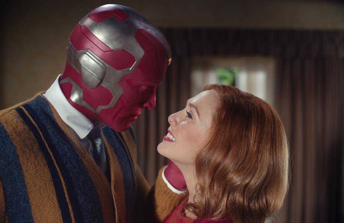 "(L -R): Paul Bettany as VIsion and Elizabeth Olsen as Wanda Maximoff in ""WandaVision."" Cr: Marvel Studios"