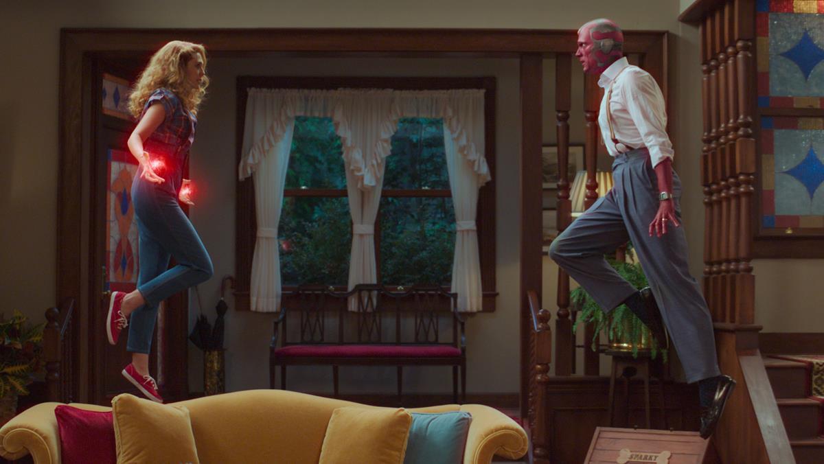"Elizabeth Olsen as Wanda Maximoff and Paul Bettany as Vision in ""WandaVision."" Cr: Marvel Studios"