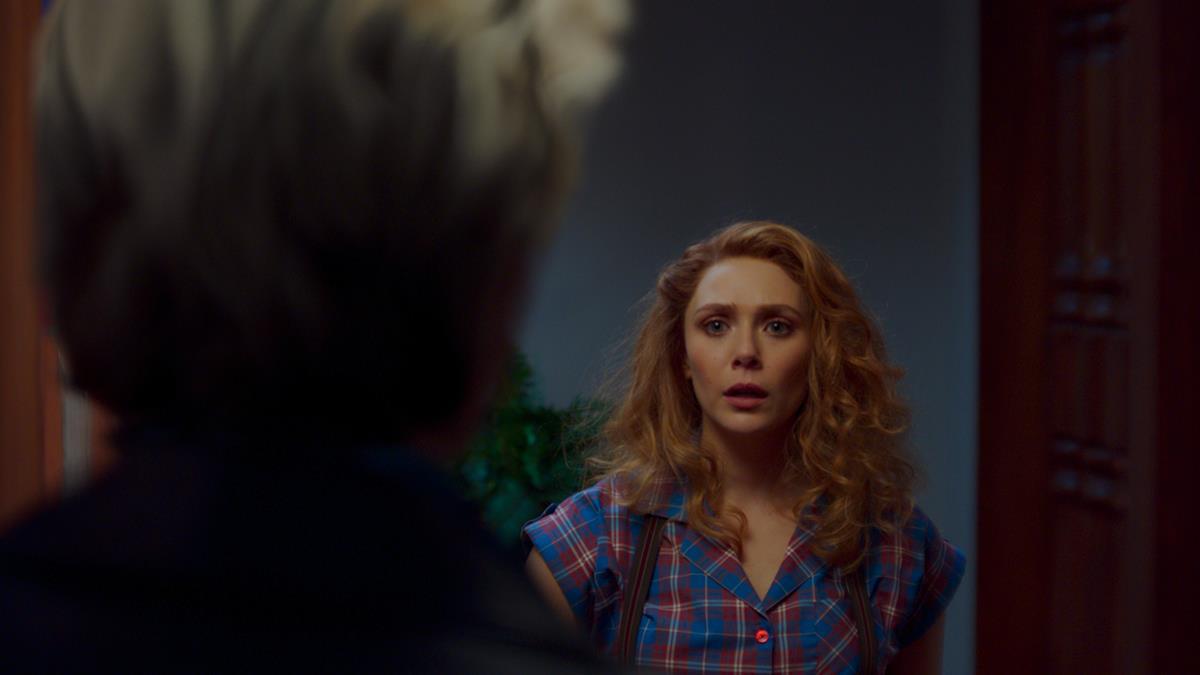 "Paul Bettany as Vision and Elizabeth Olsen as Wanda Maximoff in ""WandaVision."" Cr: Marvel Studios"