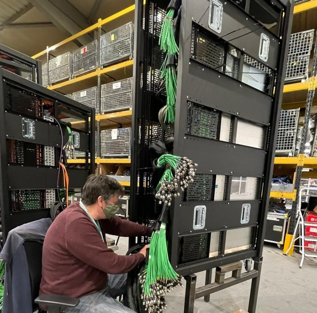 Assembling the racks for one of the Euro 2020 TOCs at Gravity Media in the UK.