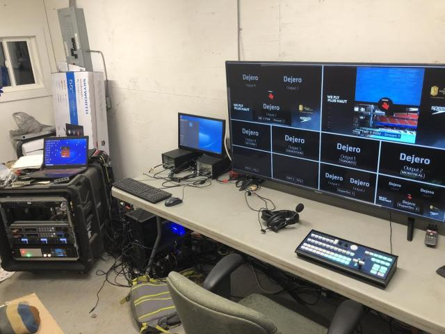 The remote production studio in Thunder Bay, Canada receives the live feeds from Edinburgh, London, and Montreal and delivers them to judges around the world.