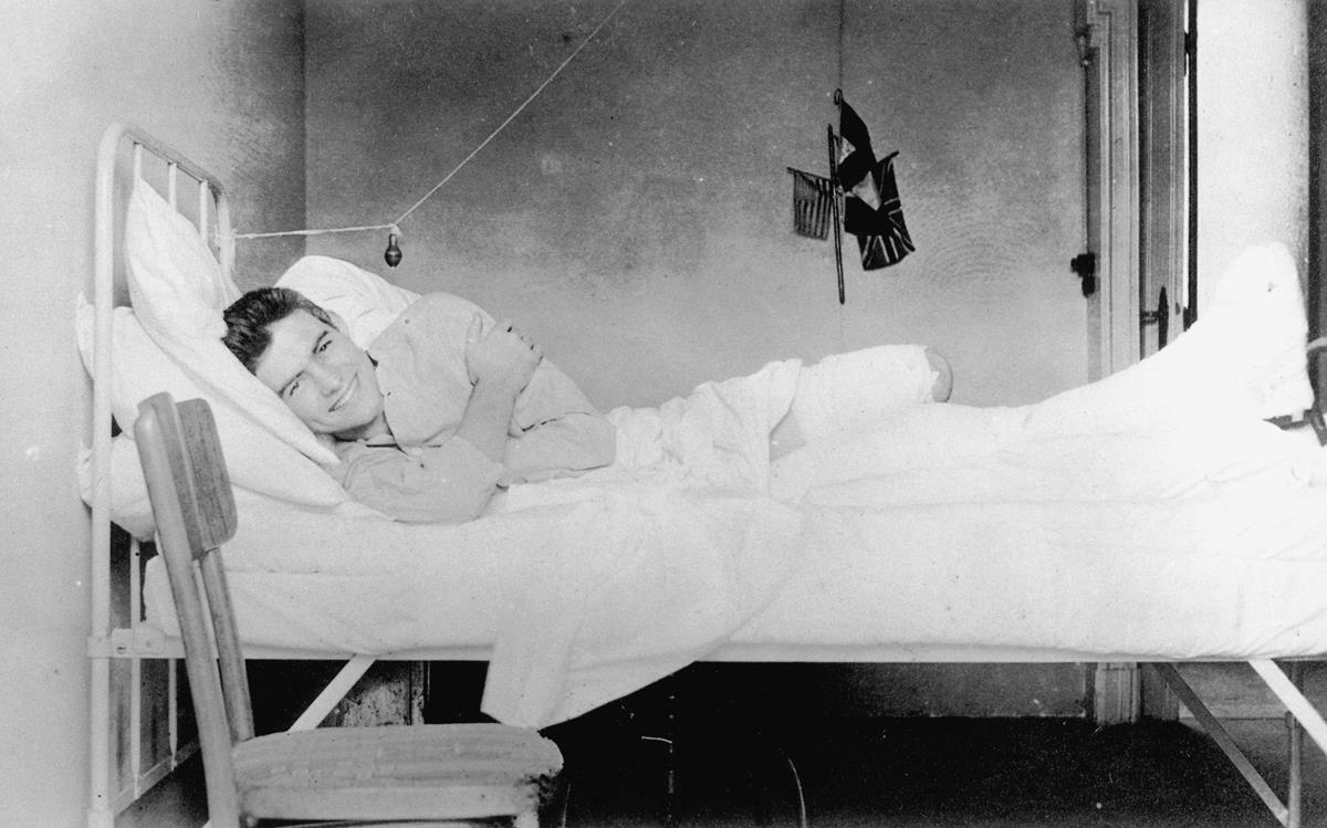 Ernest Hemingway recovering from injuries at the American Red Cross Hospital in Milan, Italy, 1918. Cr: Ernest Hemingway Collection. John F. Kennedy Presidential Library and Museum, Boston