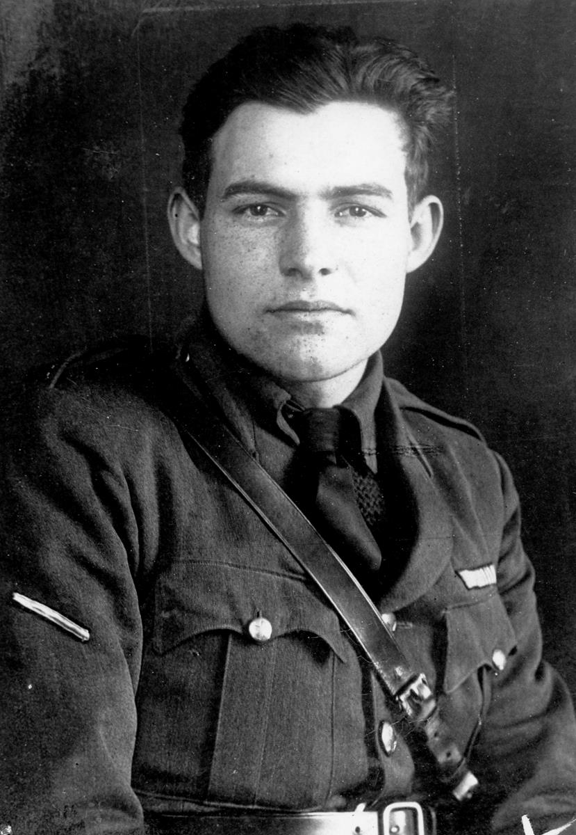 Ernest Hemingway poses in uniform in 1918, not long after his graduation from Oak Park and River Forest High School. Cr: Ernest Hemingway Photograph Collection. John F. Kennedy Presidential Library and Museum, Boston