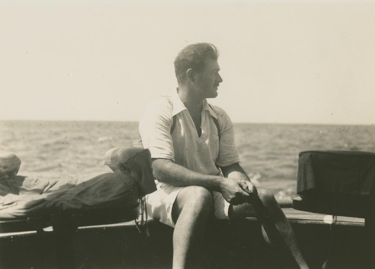 Ernest Hemingway on the fishing boat Anita circa 1929. Cr: Ernest Hemingway Collection. John F. Kennedy Presidential Library and Museum, Boston