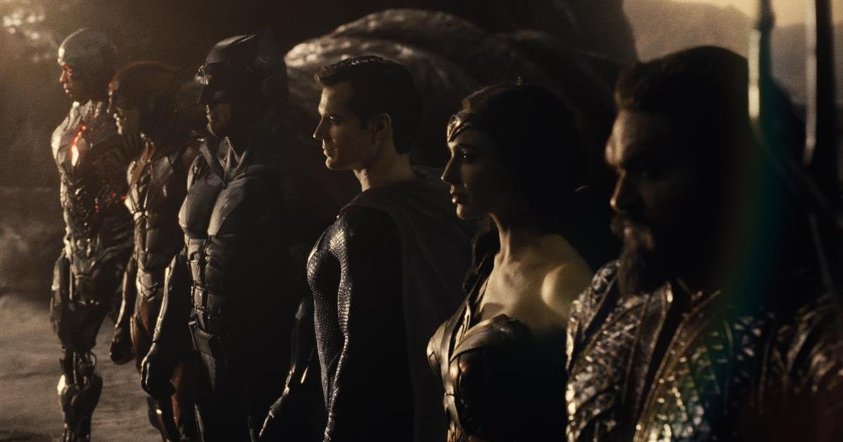 Ray Fisher as Cyborg/Victor Stone, Ezra Miller as The Flash/Barry Allen, Ben Affleck as Batman/Bruce Wayne, Henry Cavill as Superman/Clark Kent, Gal Gadot as Diana Prince/Wonder Woman and Jason Momoa as Aquaman/Arthur Curry in ZACK SNYDER'S JUSTICE LEAGUE. Cr: HBO Max