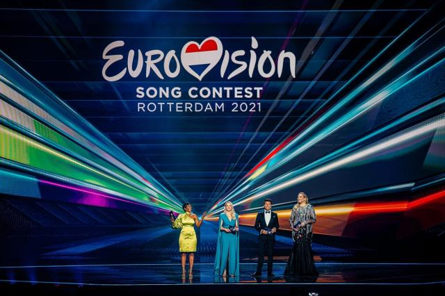 The Eurovision Song Contest 2021 was hosted by (left to right) Edsilia Rombley, Chantal Janzen, Jan Smit and Nikkie de Jager (also known as NikkieTutorials). Cr: Jordy Brada