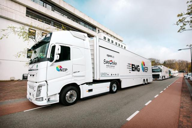 A caravan of OB trucks, dual-branded EMG-NEP for Eurovision, sets out from Hilversum to Rotterdam on April 21. Cr: NPO/NOS/AVROTROS, Nathan Reinds