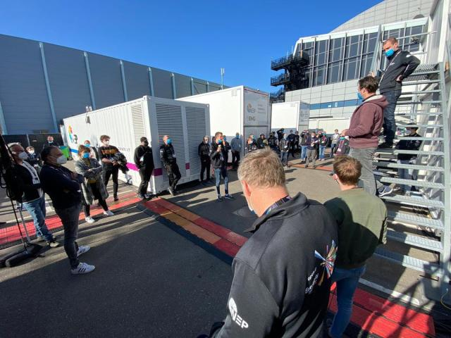OB crew briefing in the TV Compound at The Ahoy Arena in Rotterdam. Cr: Sander Mulkerns
