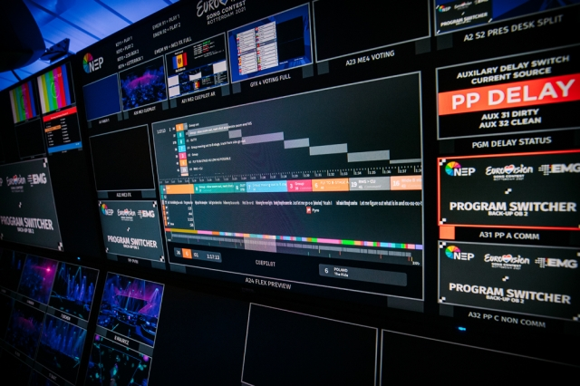View of CuePilot screen, part of the monitor wall in the TV Compound run by EMG and NEP for the Song Contest. Cr: NPO/NOS/AVROTROS, Nathan Reinds