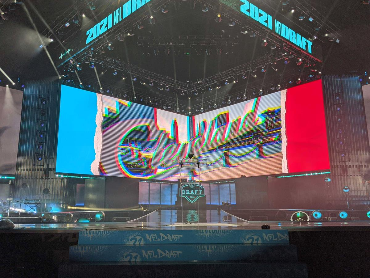 2021 NFL Draft main stage in Cleveland, Ohio.