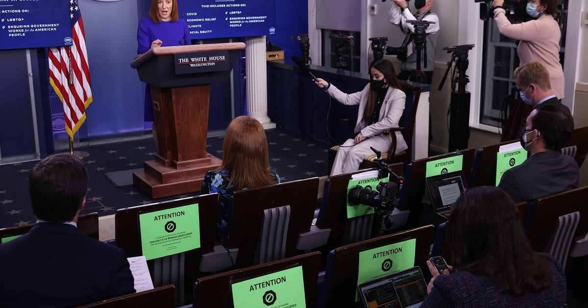 White House press secretary Jen Psaki speaks during a press briefing at the White House on January 20, 2021. Cr: Chip Somodevilla/Getty Images