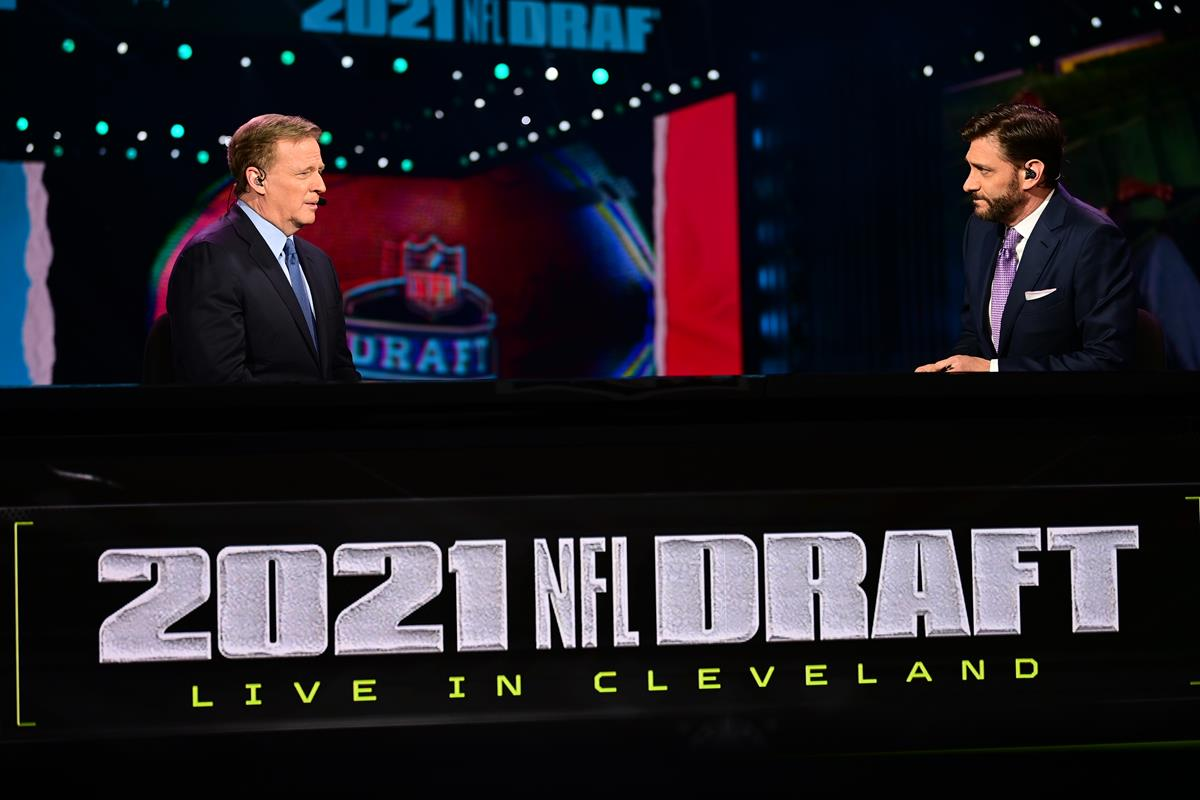 Roger Goodell and Mike Greenberg prior to the 2021 NFL Draft. Cr: Phil Ellsworth/ESPN Images