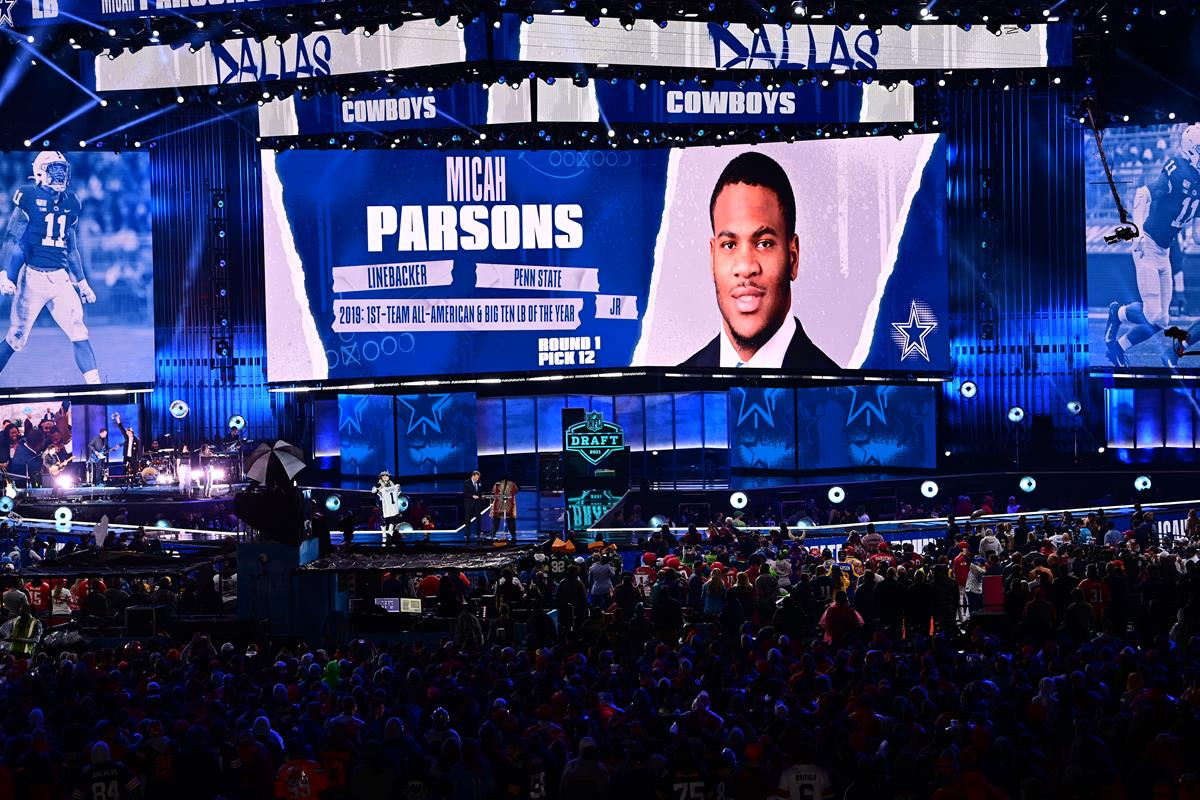 Micah Parsons selected by the Dallas Cowboys during the 2021 NFL Draft. Cr: Phil Ellsworth/ESPN Images
