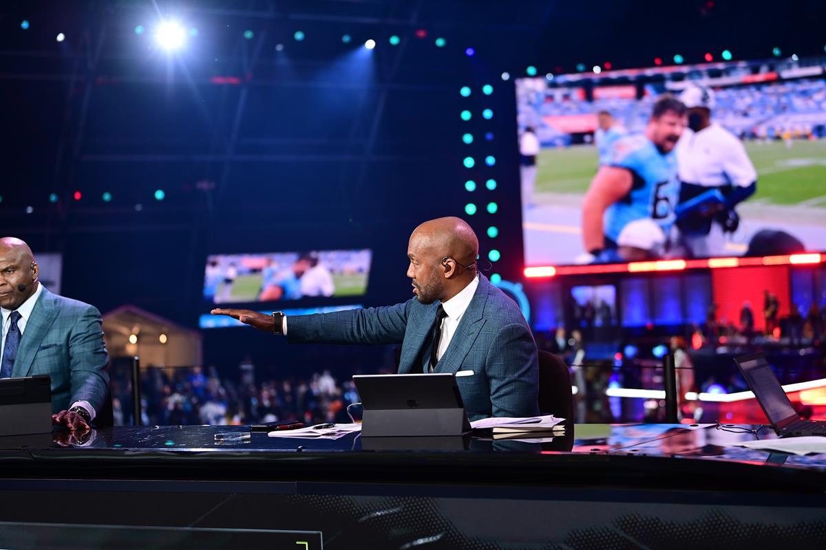 Louis Riddick on the ESPN set during the 2021 NFL Draft. Cr: Phil Ellsworth/ESPN Images