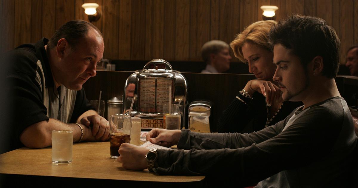 "The Sopranos' ""Made In America,"" originally aired 03-22-2007, directed by David Chase   Pictured: James Gandolfini (Tony Soprano) Edie Falco (Carmela) Robert Iler (Anthony Jr.)  Photo credit: Will Hart / HBO"
