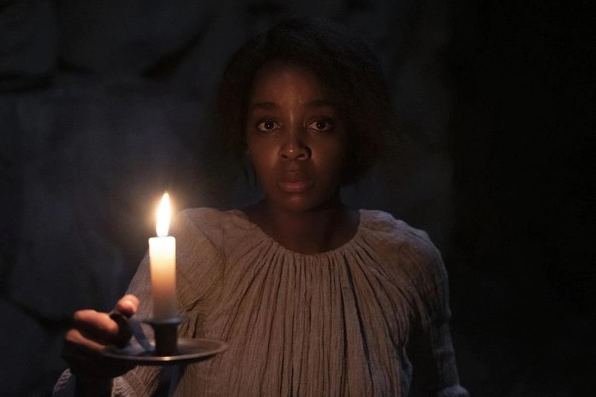 "Thuso Mbedu as Cora in ""The Underground Railroad."" Cr: Kyle Kaplan/Amazon Studios"