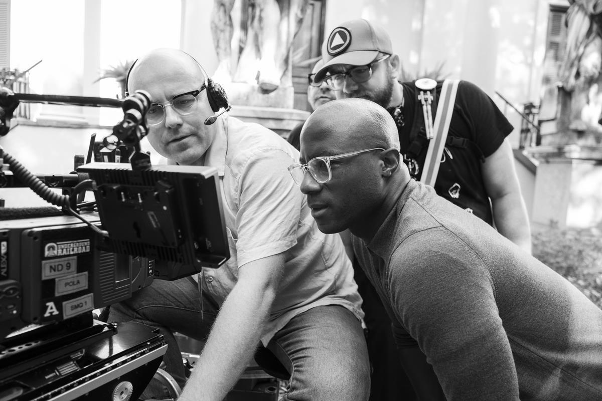 "Cinematographer James Laxton and showrunner Barry Jenkins on the set of ""The Underground Railroad."" Cr: Kyle Kaplan/Amazon Studios"