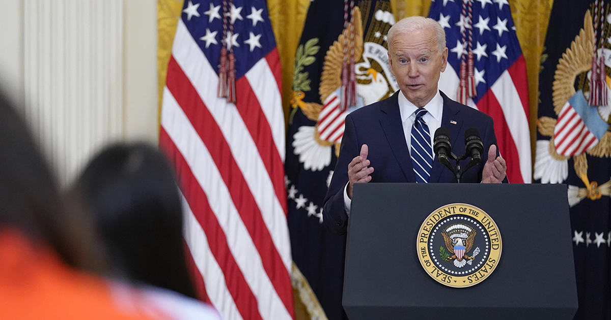 President Joe Biden speaks during a news conference in the East Room of the White House in Washington. (AP Photo/Evan Vucci)