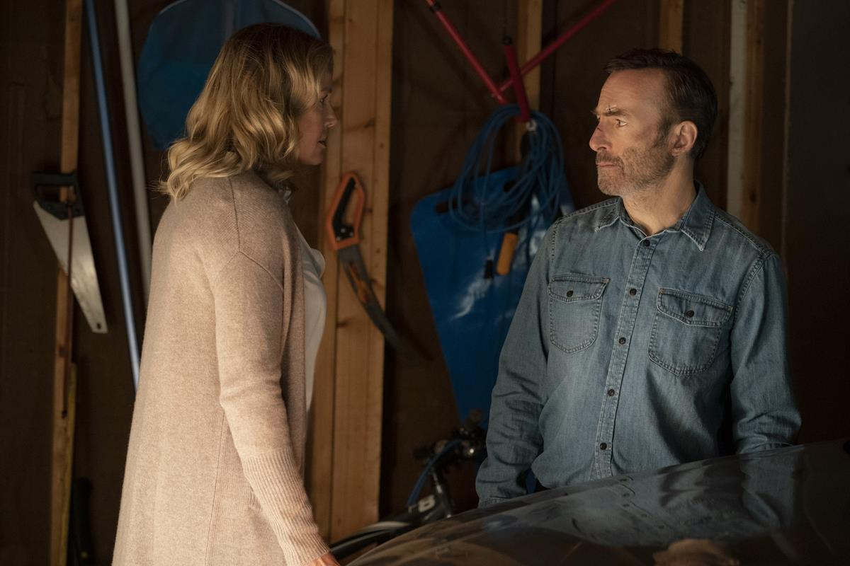 """Connie Nielsen as Becca Mansell and Bob Odenkirk as Hutch Mansell in """"Nobody,"""" directed by Ilya Naishuller. Cr: Allen Fraser/Universal Pictures"""