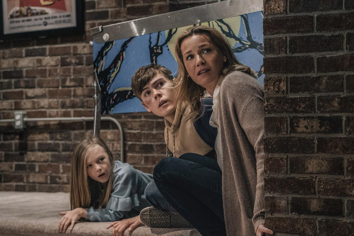 """Paisley Cadorath as Sammy Mansell, Gage Munroe as Brady Mansell and Connie Nielsen as Becca Mansell in """"Nobody,"""" directed by Ilya Naishuller. Cr: Allen Fraser/Universal Pictures"""