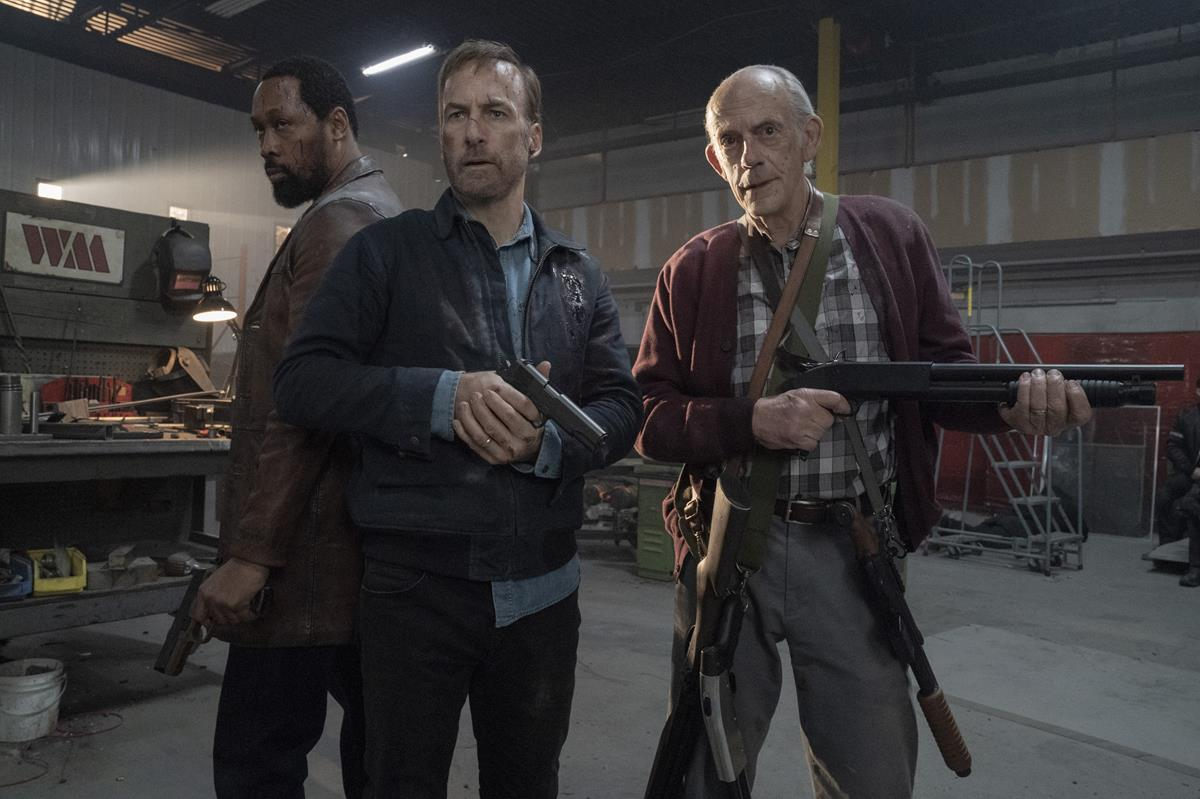 """RZA as Harry Mansell, Bob Odenkirk as Hutch Mansell and Christopher Lloyd as David Mansell in """"Nobody,"""" directed by Ilya Naishuller. Cr: Allen Fraser/Universal Pictures"""