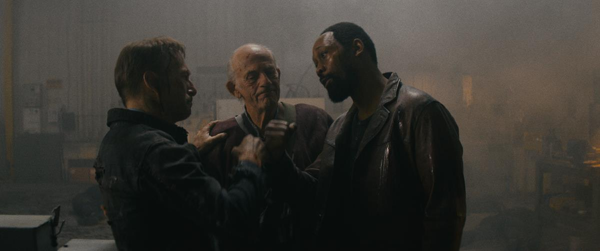 """Bob Odenkirk as Hutch Mansell, Christopher Lloyd as David Mansell and RZA as Harry Mansell in """"Nobody,"""" directed by Ilya Naishuller. Cr: Allen Fraser/Universal Pictures"""