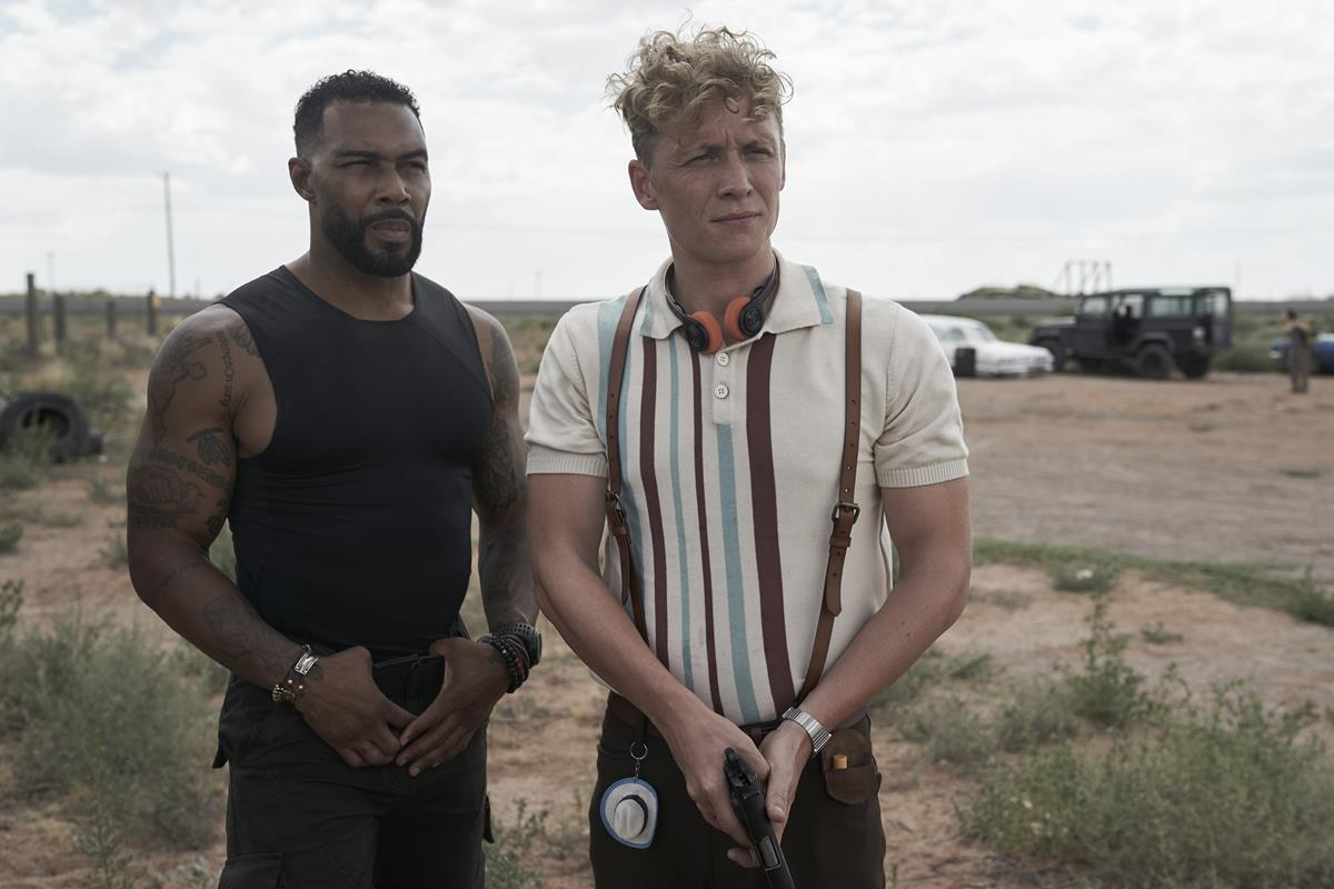 """Omari Hardwick as Vanderohe and Matthias Schweighöfer as Dieter in """"Army of the Dead,"""" written and directed by Zack Snyder. Cr: Clay Enos/Netflix"""