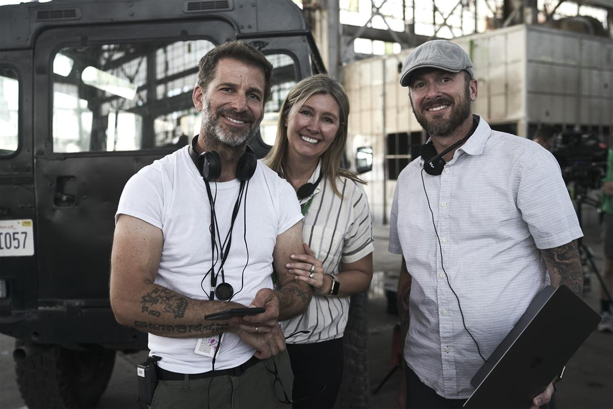 """Director, producer and writer Zack Snyder, producer Deborah Snyder and producer Wesley Coller on the set of """"Army of the Dead."""" Cr: Clay Enos/Netflix"""