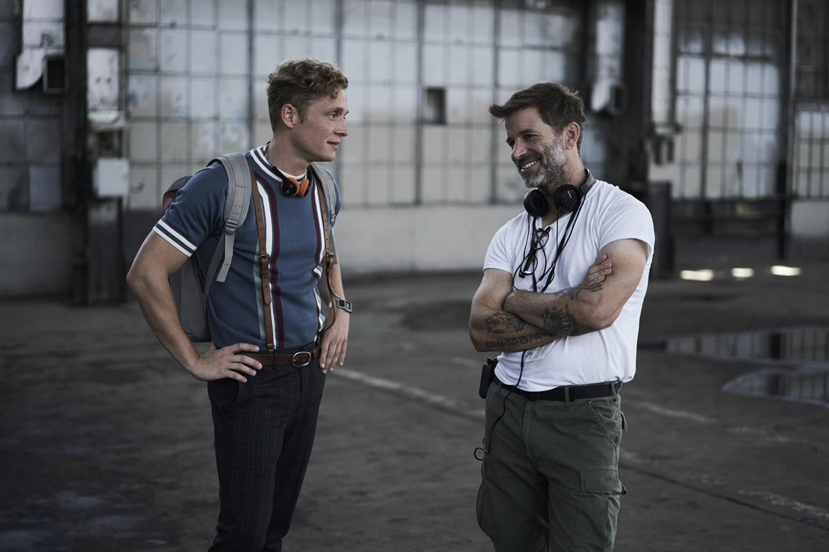 """Matthias Schweighöfer and director, producer and writer Zack Snyder on the set of """"Army of the Dead."""" Cr: Clay Enos/Netflix"""