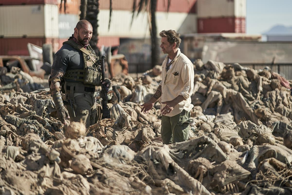 """Dave Bautista and director, producer and writer Zack Snyder on the set of """"Army of the Dead."""" Cr: Clay Enos/Netflix"""