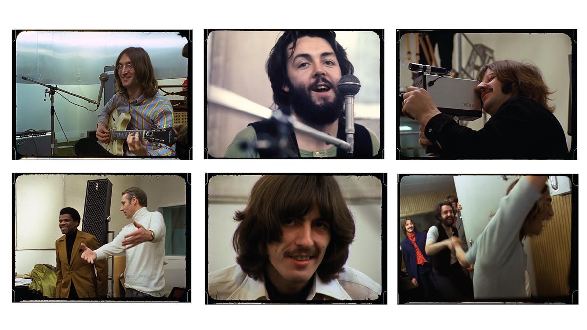 "Clockwise from top left: John Lennon mugging for the camera; Paul McCartney; Ringo Starr; studio high jinks; George Harrison; producer George Martin welcoming keyboardist Billy Preston. ""The Beatles: Get Back."" Cr: Apple Corps Ltd./Disney"
