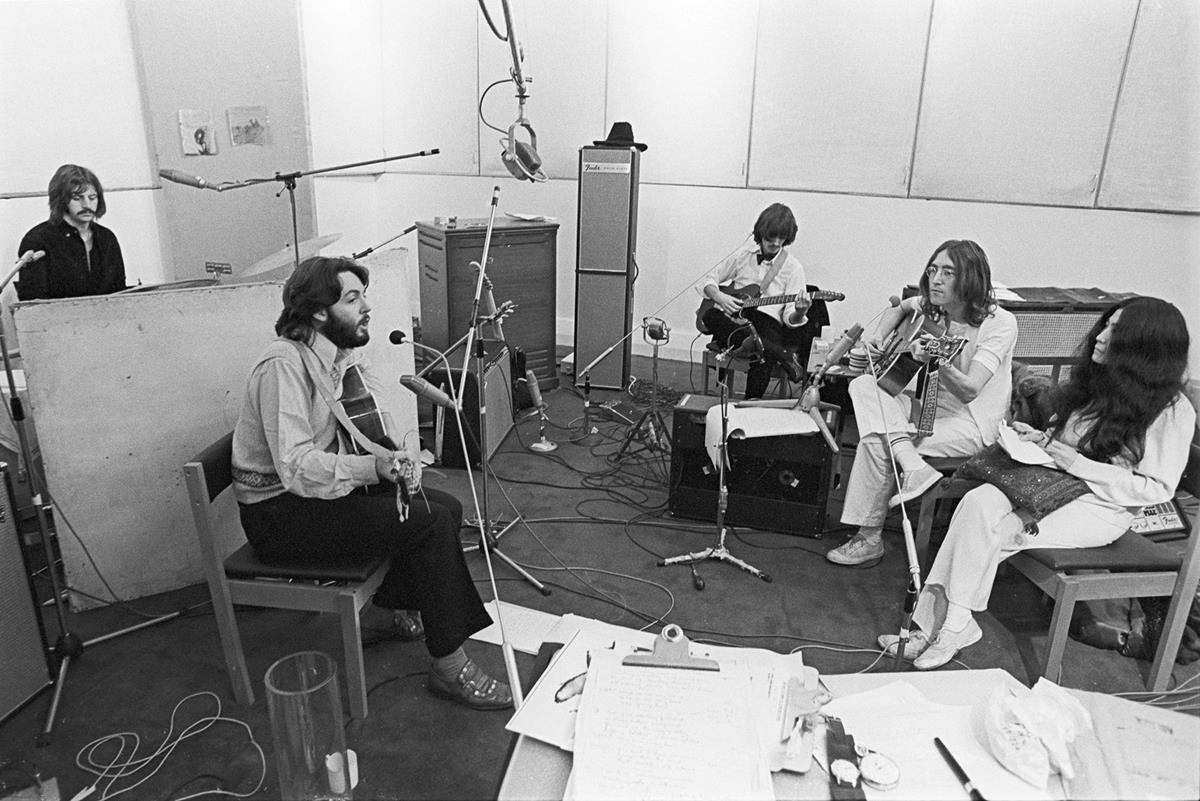 """Yoko Ono sitting in on a session with the band. """"The Beatles: Get Back."""" Cr: Apple Corps Ltd./Disney"""