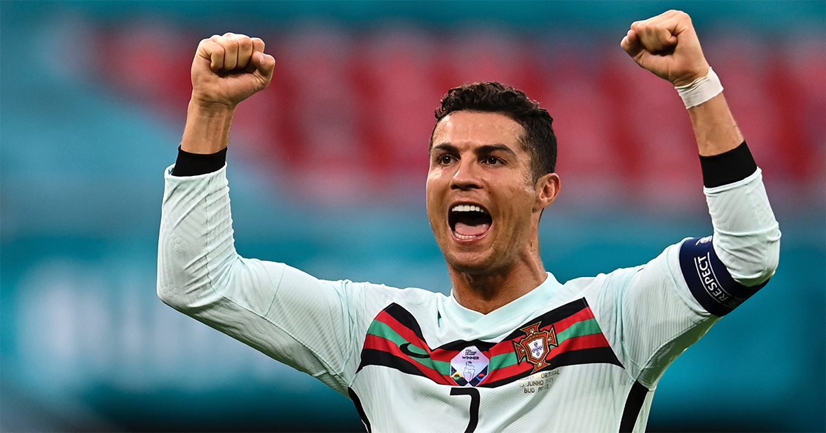 At UEFA's Euro 2020, Portugal's Cristiano Ronaldo celebrates. Photo by Robert Michael/picture-alliance/dpa/AP Images